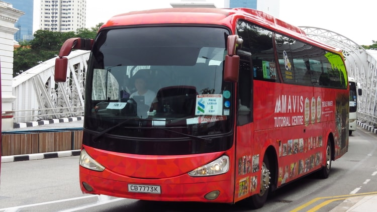 A long-distance bus in Singapore transporting travelers to their destination