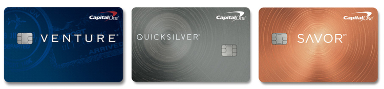 The three travel credit cards from Capital One available for American travelers titled Venture, Quicksilver, & Savor