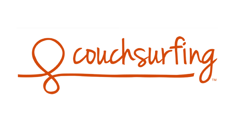The logo for Couchsurfing which is free accommodation for travelers
