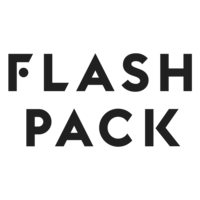 The logo for Flash Pack which is a group tour company that provides small group tours for travelers between 30 and 49 years of age