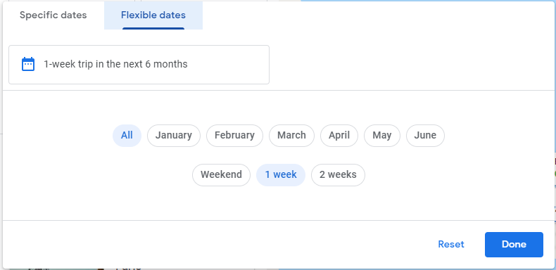 The dates filter on Google Flights' Destination Map feature which lets you change your travel dates