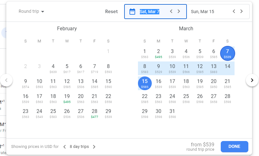 The calendar feature on Google Flights which lets you see prices for multiple dates