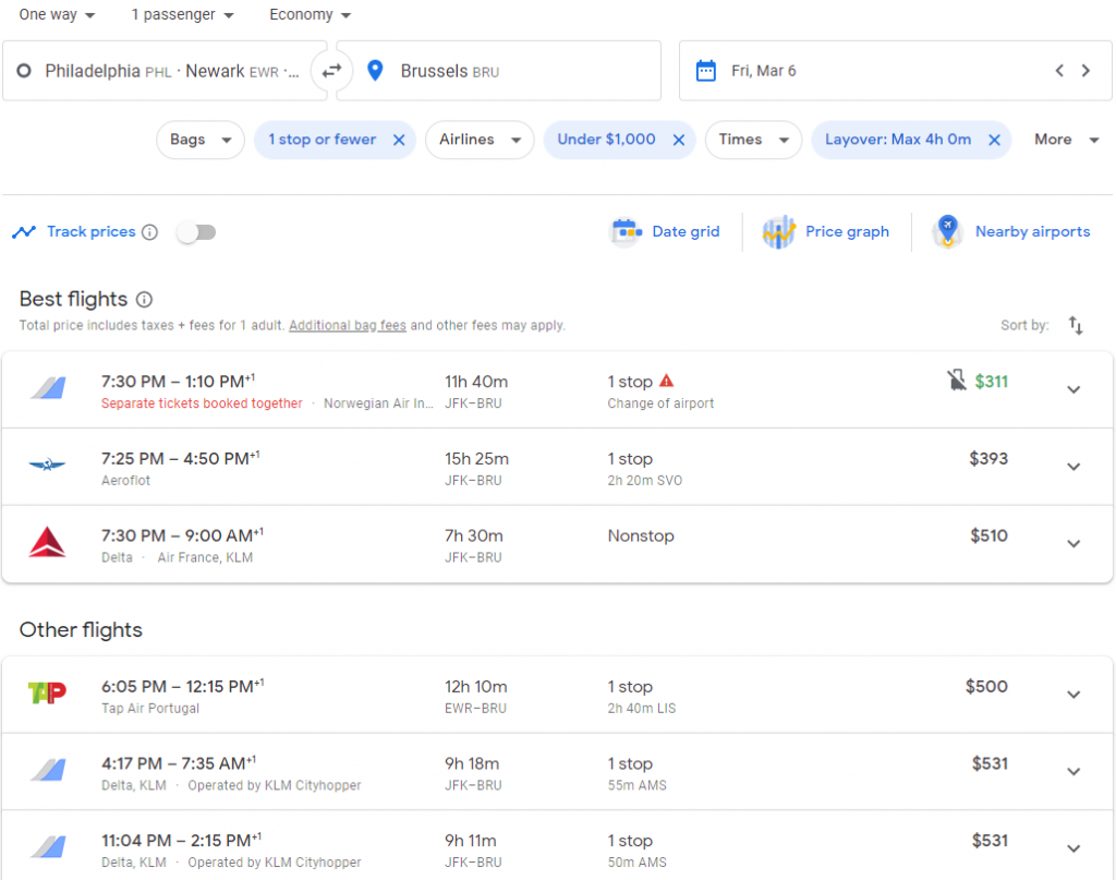 The search results on Google Flights for all the flights departing from multiple different airports