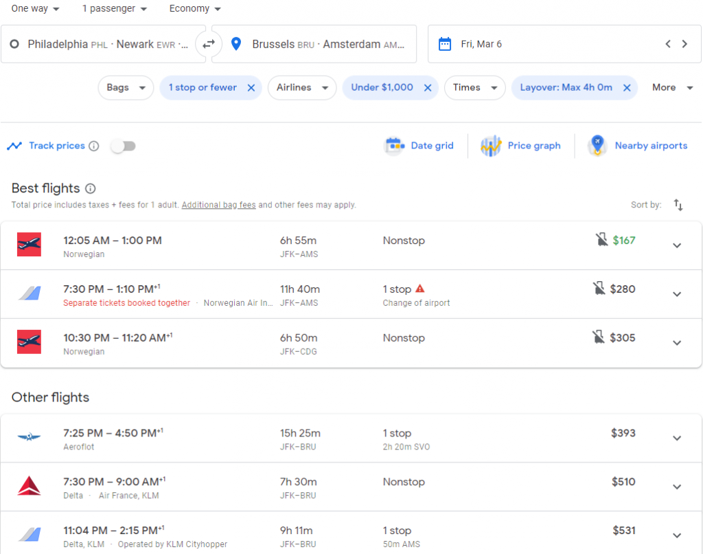 The flight search results on Google Flights after adding multiple departure and arrival airports