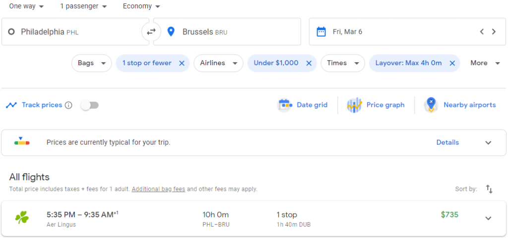 A search for flights on Google Flights between two standard airports