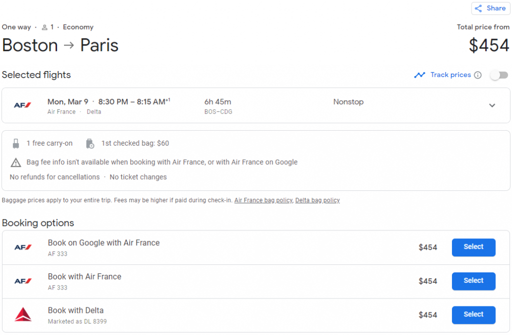 The track prices button found on flight booking pages on Google Flights