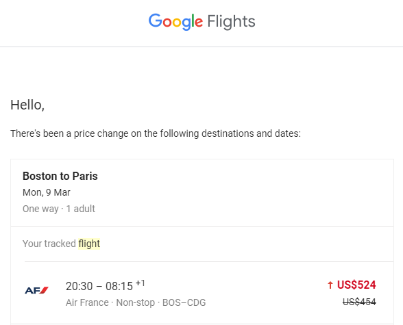 The price change email received from Google Flights when tracking a specific flight