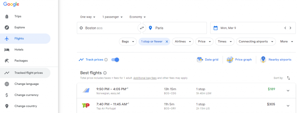 The menu showing where tracked flight prices are located on Google Flights