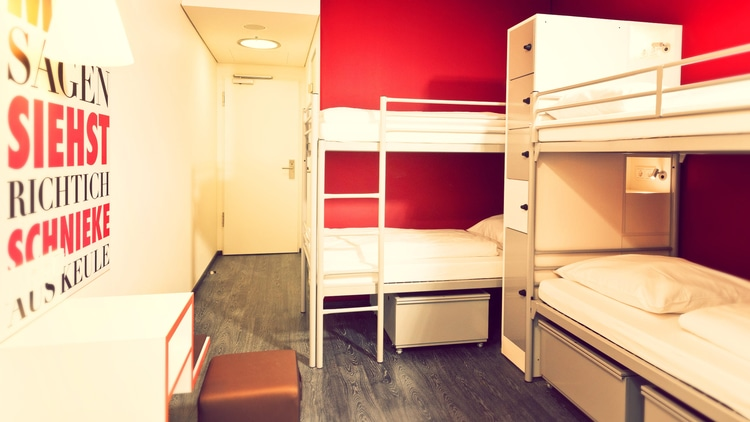 A hostel dorm room in Germany where budget travelers stay
