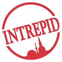 The logo for Intrepid Travel which is a group tour company that provides small group tours for travelers of all age groups