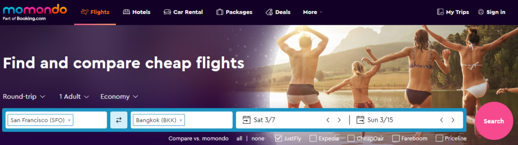 The flight search page on Momondo used to find cheaper flight prices offered by OTAs