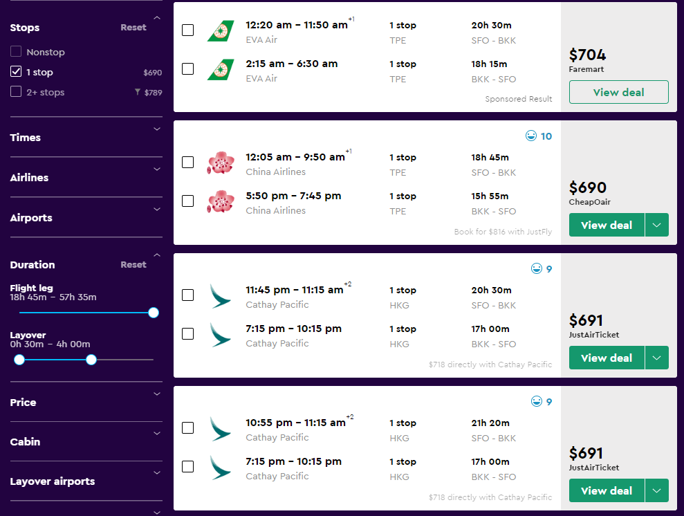 The search results on Momondo after using filters to show the best and cheapest flights available