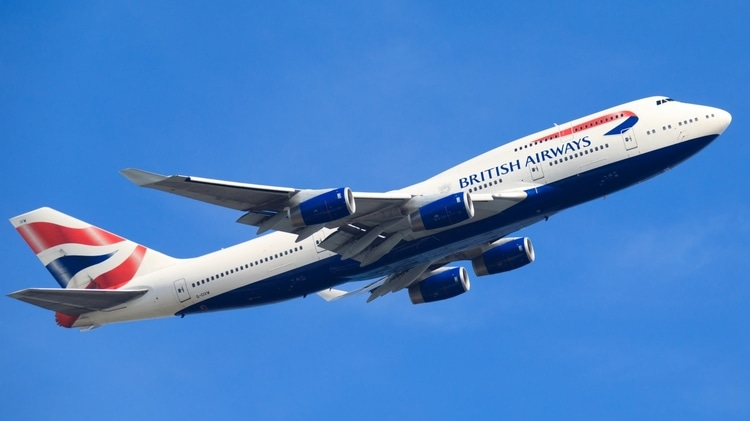 A British Airways plane transporting travelers to their destinations