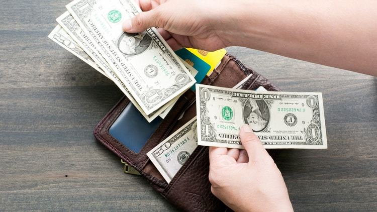 A budget traveler managing the money in their wallet