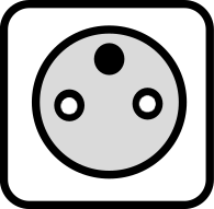 A drawing of the Type E power outlet which is used in many countries around the world