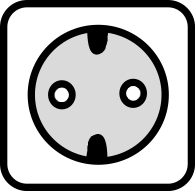 A drawing of the Type F power outlet which is used in many countries around the world