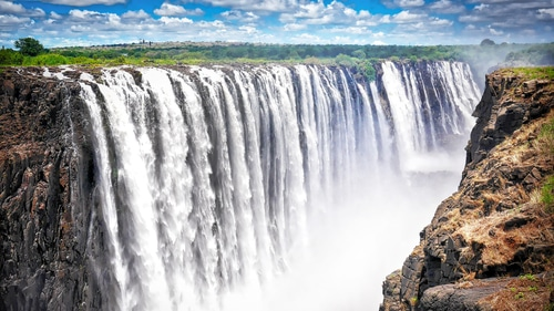 The Victoria Falls in Zimbabwe which is the most popular tourist attraction for travelers