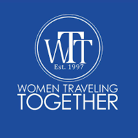 The logo for Women Traveling Together which is a group tour company that provides group tours for female travelers