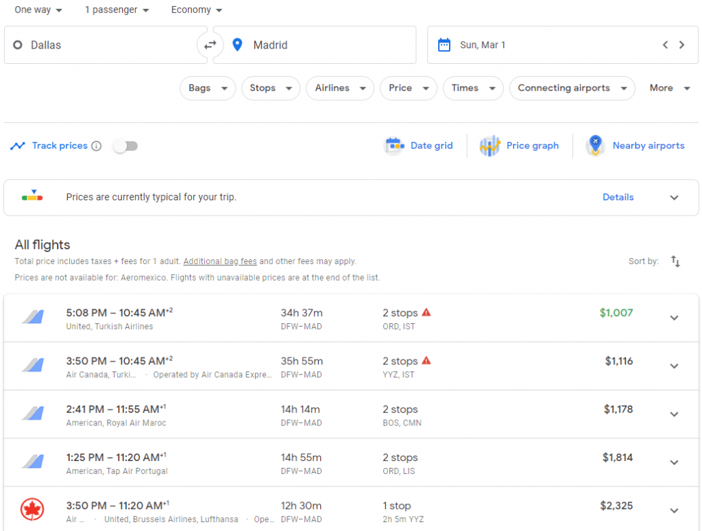 The search results on Google Flights for a one-way flight from Dallas to Madrid