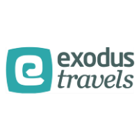 The logo for Exodus Travels which is a group tour company that provides small group tours for travelers older than 40 years of age