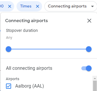 The connecting airports filter on Google Flights which lets you filter out flights with long layovers or that connect in airports you don't like