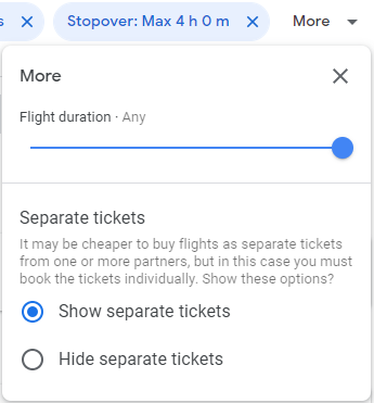 The extra filters on Google Flights that let you filter out flights with total durations that are too long