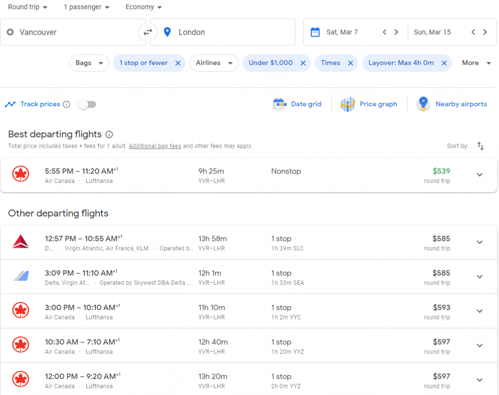 Typical flight search results on Google Flights after using filters to find the best flights
