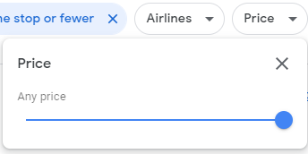 The price filter on google flights used to filter out flights that are outside of your budget