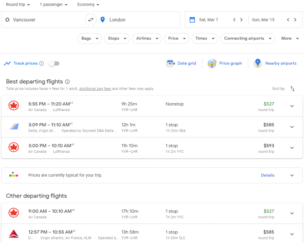 The search results for a standard search on Google Flights