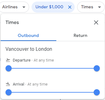 The times filter on google flights used to filter out flights that depart or arrive too early or late
