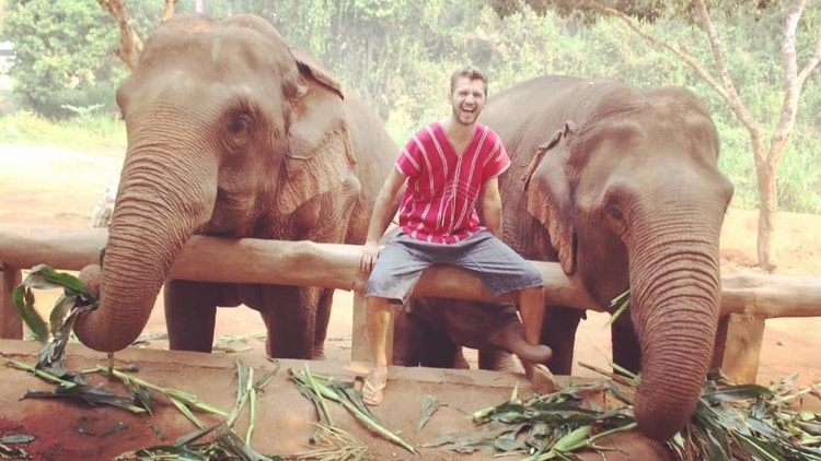 Sebastian from Travel Done Simple sitting on a rail in between two large elephants in Thailand while a baby elephant uses its trunk to grab his leg