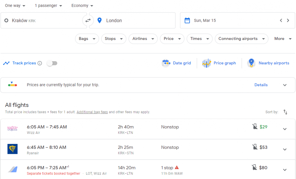 The search results on Google Flights for a cheap flight from Krakow to London