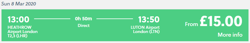 The price for a National Express shuttle bus from Heathrow to Luton airport