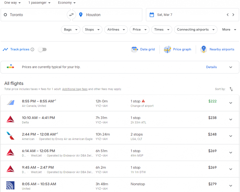 The search results on Google Flights for a one-way flight from Toronto to Houston