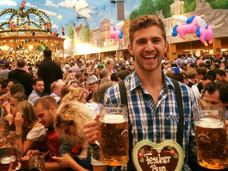 Sebastian from Travel Done Simple at the Oktoberfest in Munich Germany