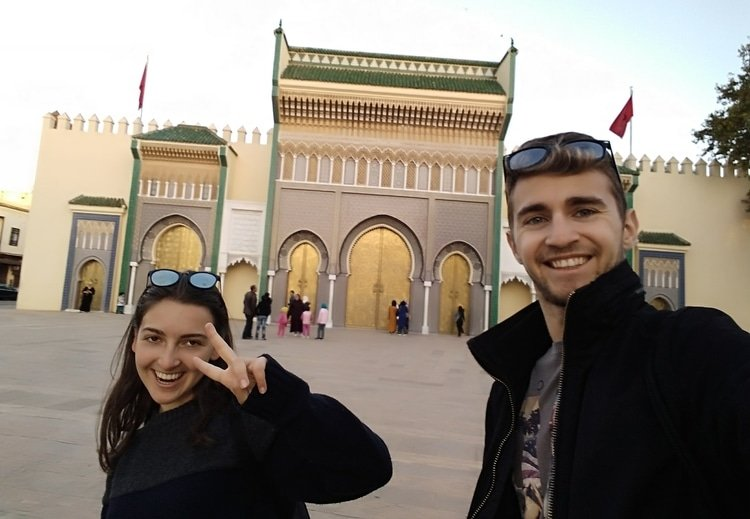 Sebastian from Travel Done Simple and a hostel friend visiting the city of Fez in Morocco